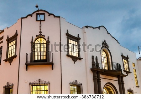 White building in colonial city Popayan, Colombia - stock photo