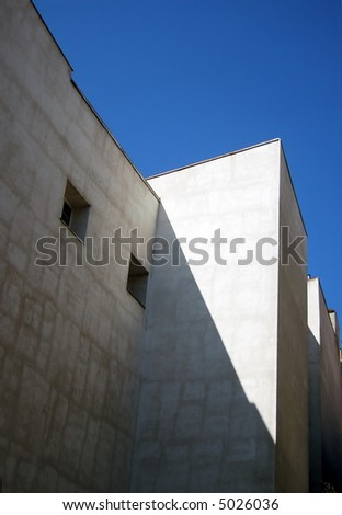 White building on a blue sky