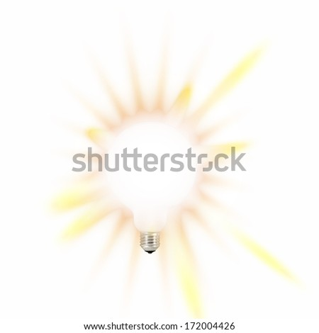 White bulb with yellow rays. - stock photo