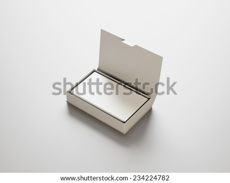 White business cards in the white box - stock photo