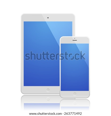 White Business Phone and White tablet with blue screen and reflection. Illustration Similar To iPhone iPad.