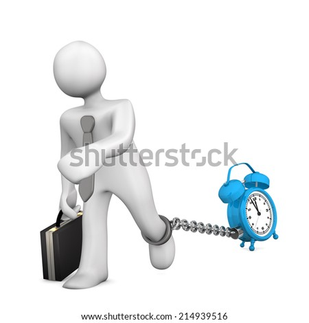 White businessman chained with blue alarmer. White background. - stock photo
