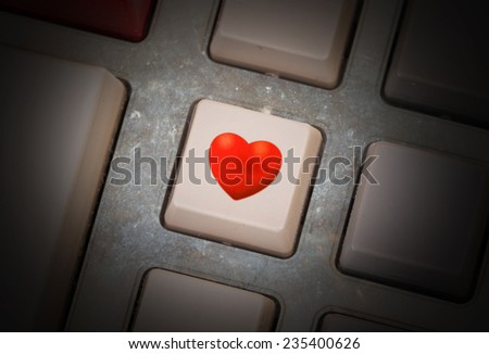 White button on a dirty old panel, selective focus - heart - stock photo