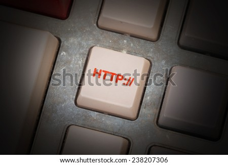 White button on a dirty old panel, selective focus - http