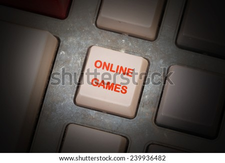 White button on a dirty old panel, selective focus - online games