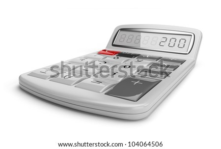 White calculator 3D. Science object. Isolated on white background - stock photo