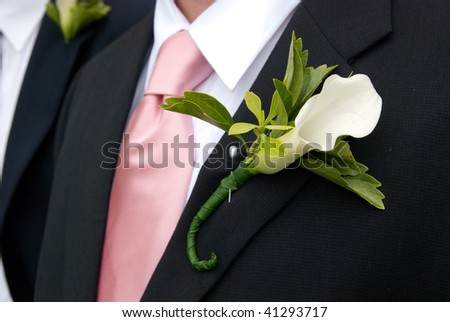 White Calla Lily  boutonniere on black suit - stock photo