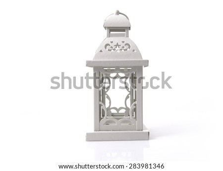 White candle holder. An isolated object on white background. - stock photo