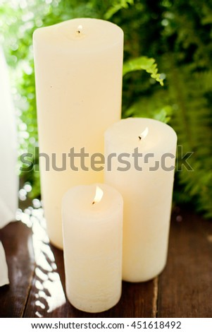 white candles and green fern - stock photo