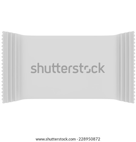 White candy bag, napkins and other products and items - stock photo