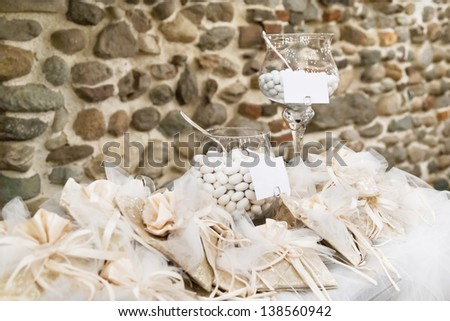 white candy for a wedding - stock photo