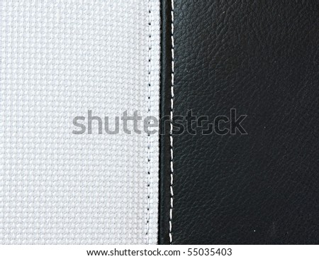 white canvas and black leather - stock photo