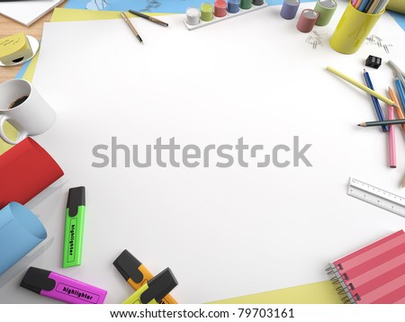 white canvas on a drawing table with lots of stationery objects making a center copy space for you text or design in a close up view - stock photo