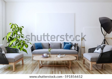 Furniture Design Living Room 3d empty living room white wall background stock illustration