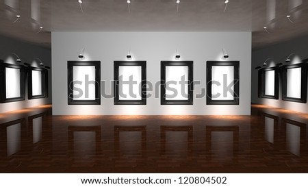 White canvas on the wall of the gallery - stock photo