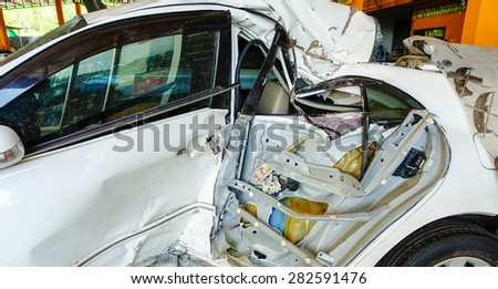 white car crash. - stock photo