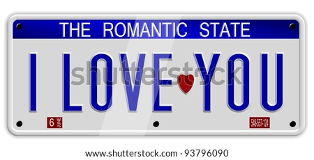 White car number plates spelling I love you on the white background / I love you number plates - stock photo