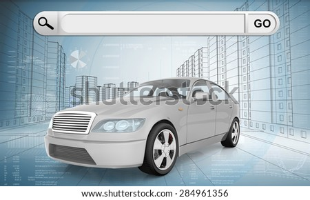 White car on abstract urban background with search field, front view