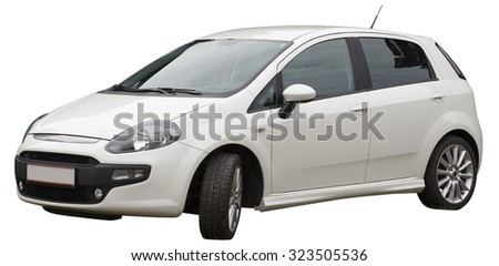 White car on isolated white background, side view - stock photo