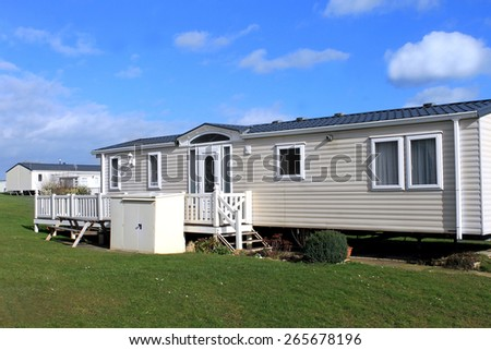 White caravans in a modern trailer park, Scarborough, England. - stock photo