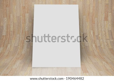 White card against curved wooden room - stock photo