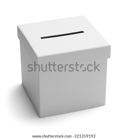 White Card Board Voting Box Isolated on White Background. - stock photo