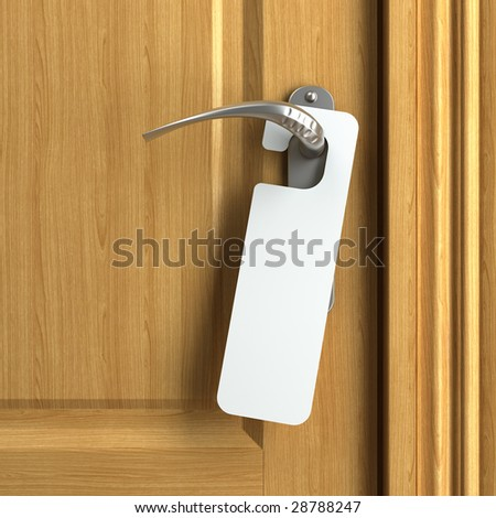 white card hanging from doorknob with copy space where you can put your own text - stock photo