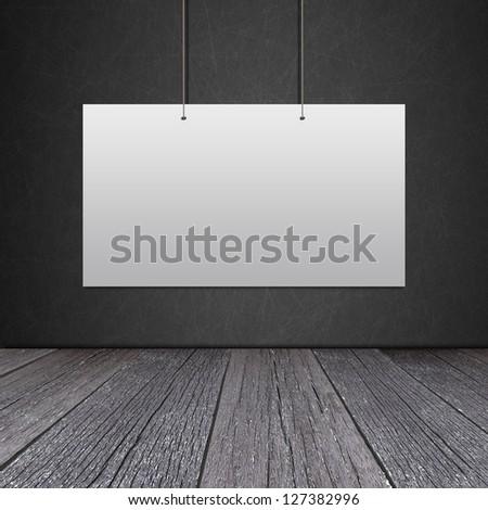 White card on Blackboard in the room - stock photo