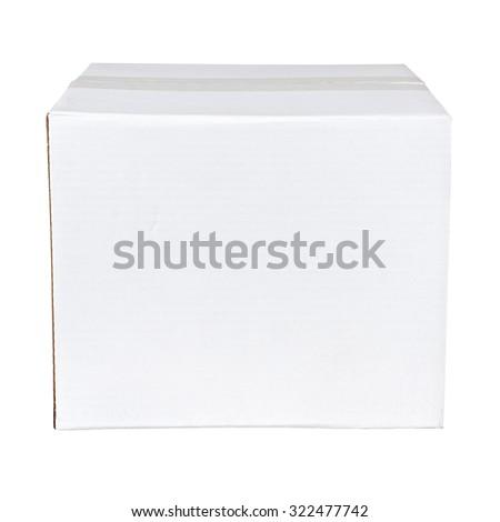 White cardboard box isolated on white background - stock photo
