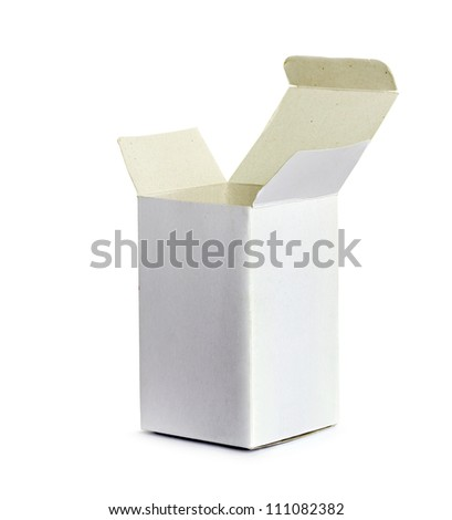 white cardboard box on a white background - stock photo