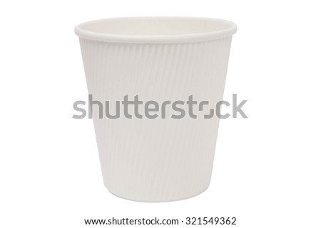 White cardboard cups for hot drinks - stock photo