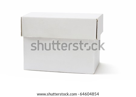 White cardboard storage box on isolated background - stock photo