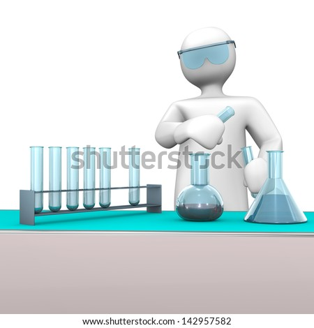 White cartoon character as chemist with test tubes. - stock photo