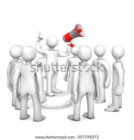 White cartoon character as leader with red bullhorn. 3d illustration.
