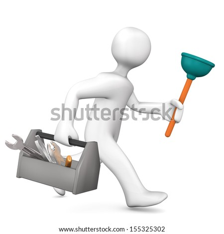 White cartoon character as plumber runs. White background. - stock photo