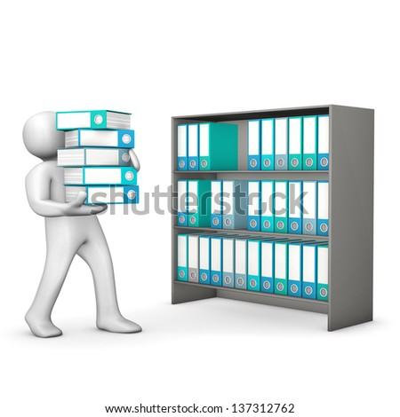 White cartoon character assorts folders in the cabinet. White background. - stock photo