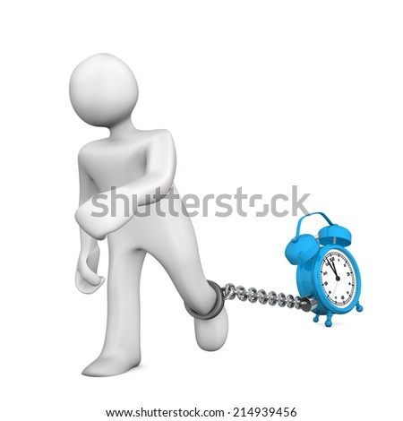 White cartoon character chained with a blue alarmer. - stock photo