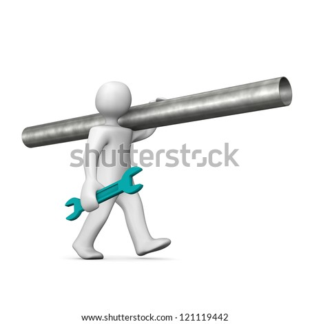 White cartoon character goes with pipe. White background. - stock photo