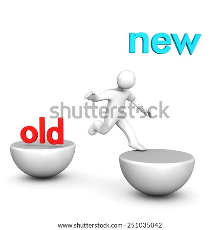 "White cartoon character jumps to the text ""new""."