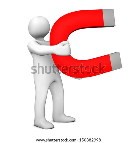 white cartoon character big magnet white stock illustration