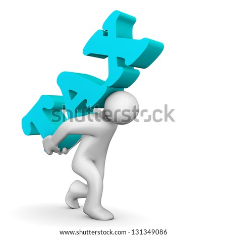 "White cartoon character with big text  ""tax"". - stock photo"