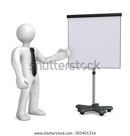 White cartoon character with black tie and flipchart on the white. 3d illustration.