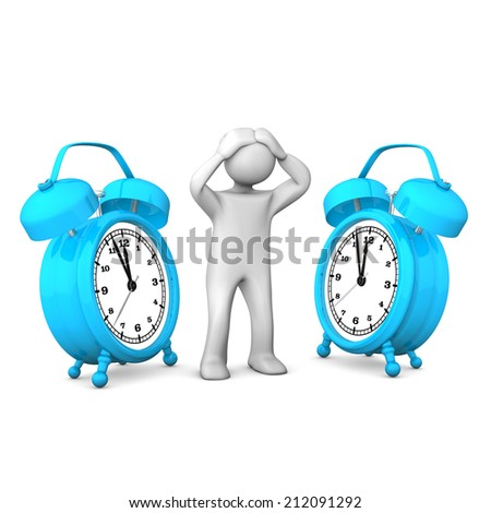White cartoon character with blue alarmer. White background. - stock photo