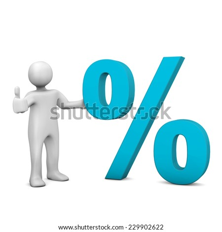 White cartoon character with blue symbol of percent. White background.