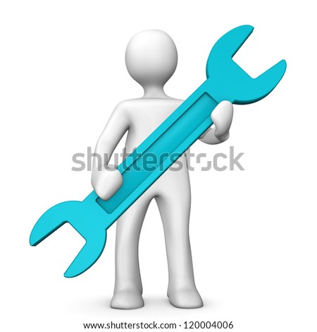 White cartoon character with cyan wrench.