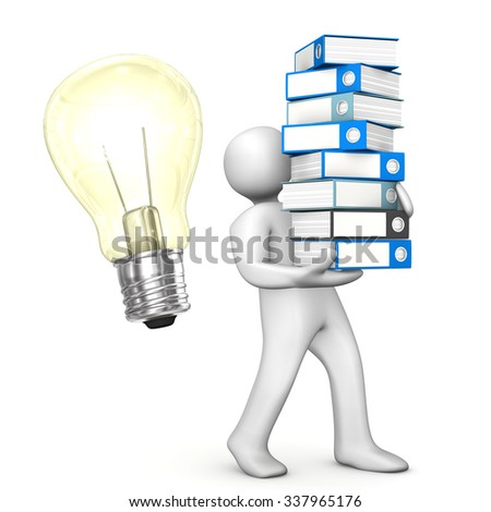 White cartoon character with folders and bulb on the white. 3d illustration. - stock photo