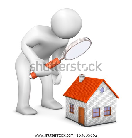 White cartoon character with loupe and house. - stock photo