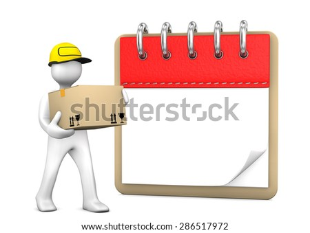 White cartoon character with packet and notepad. White background. - stock photo