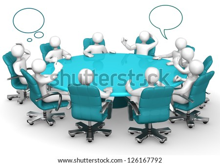 White cartoon characters on round table with speech bubbles. - stock photo