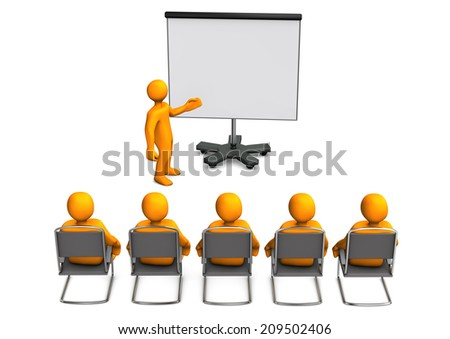 White cartoon characters sit in on a lecture. White background. - stock photo
